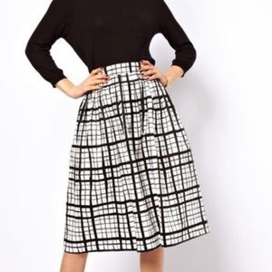 ASOS Black and White Check Skater Skirt - US 14